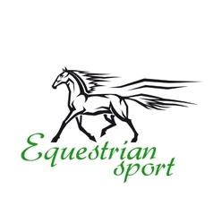 Galloping horse for racing sport design vector
