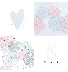 Hand drawn seamless background pattern set vector image vector image