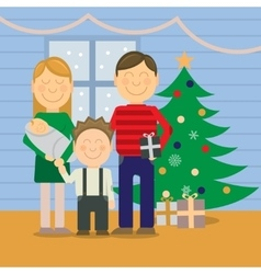 Happy family at christmas greeting card vector