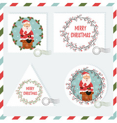 holiday set of stamps with santa vector image