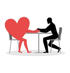 Lover in cafe Man and heart sits at table Love in vector image