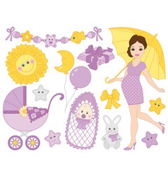 Pregnant Woman Set vector image vector image