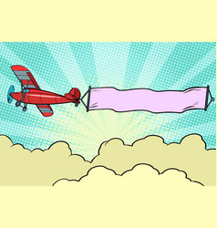 Retro airplane with a ribbon in the sky vector
