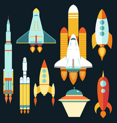rocket ships start up flat style set vector image vector image