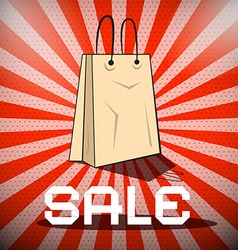 Sale title with paper shopping bag on retro red vector