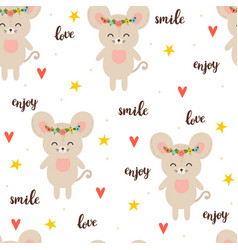 Seamless pattern with cute cartoon little mouse vector