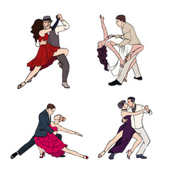set of a couple dancing argentine tango hand vector image vector image