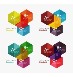 Set of abstract geometric hexagon design with vector