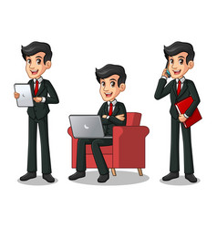 set of businessman in black suit working on gadget vector image vector image
