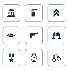 Set of simple military icons vector