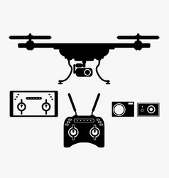 silhouette drones with remote control eps 10 vector image