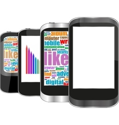 Smart phone set with social media word cloud vector image vector image