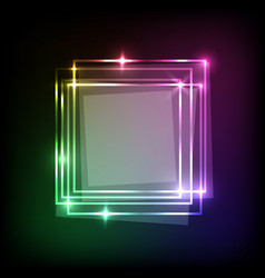 Squares banner on neon colorful abstract vector