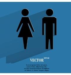 suluet men women Flat modern web button with long vector image vector image