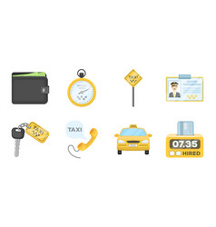 taxi service icons in set collection for design vector image