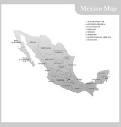 The detailed map of the mexico vector