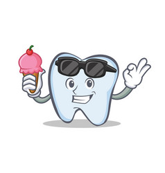 Tooth character cartoon style with ice cream vector