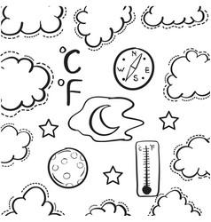Weather doodle set vector