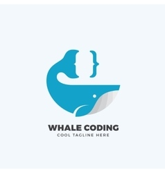 Whale coding abstract emblem label logo vector