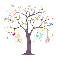 Colorful birds with tree and birdcage vector