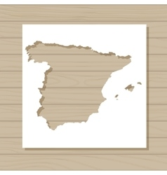 Stencil template of spain map on wooden background vector