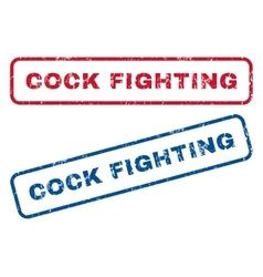 Cock fighting rubber stamps vector