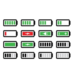 Battery charge icons set vector