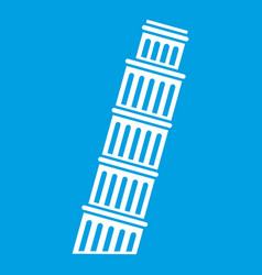 Tower of pisa icon white vector