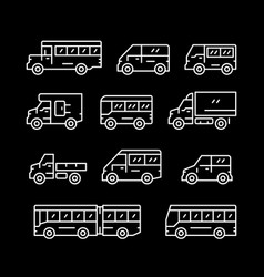 set line icons of bus and van vector image