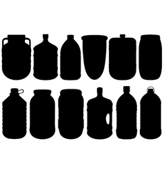 Set of different big bottles vector