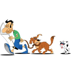 Cartoon man walking dog vector image