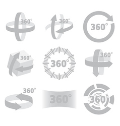 360 degrees view sign isolated vector