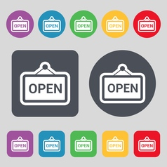 Open icon sign a set of 12 colored buttons flat vector