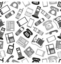 Various grayscale phone symbols and icons seamless vector