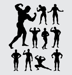 Bodybuilder muscular guy silhouettes vector image