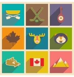Set of flat icons with long shadow canada vector