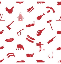 butcher and meat shop icons seamless pattern eps10 vector image