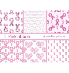 Pink ribbon medical healthcare set seamless vector