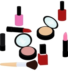 Beauty products set lipstick nail polish powder vector