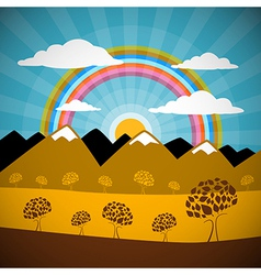 Abstract nature background with mountains rainbow vector
