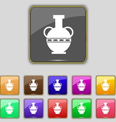 Amphora icon sign Set with eleven colored buttons vector image