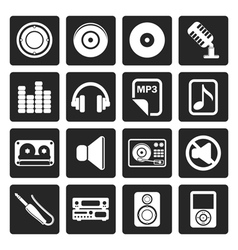 Black music and sound icons vector
