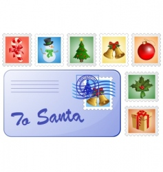 Christmas postcard and stamps vector image vector image