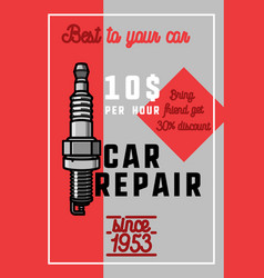 color vintage car repair banner vector image vector image
