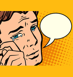 comic man wipes tears vector image vector image