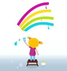 cute child painting rainbow vector image vector image