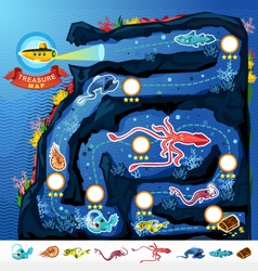 Deep Sea Exploration Treasure Game Map vector image vector image