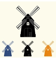 different windmills set vector image vector image