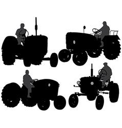 Farmer tractor silhouette vector