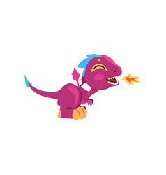 Funny fire-breathing dragon with long tail short vector